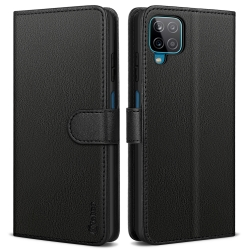 Vakoo Wallet Series for Samsung Galaxy A12 Case, Leather Flip Cover for Samsung A12 Phone Case with RFID Blocking - Black