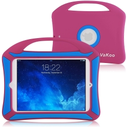 Vakoo iPad Mini 4 Case, iPad Mini 4 Kids Proof Shockproof Drops Protection Soft Silicone Heavy Duty Handle Cover Case for Apple iPad Mini 4 (Pink, Blue)
