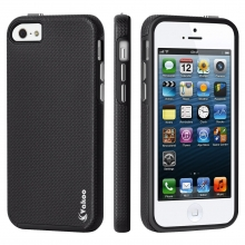 iPhone 5 Case,iPhone 5S Case,Vakoo [Armor Textured] Dual Layer Slim Fit [Rugged Defender] [Shock Absorption] Protective Case for for Apple iPhone 5/5S/SE (Black)