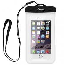 Vakoo Universal Waterproof Case, Sensitive Touch Waterproof Cellphone Dry Bag for Apple iPhone 6S, 6S Plus, iPhone 5, 5S, Galaxy S6, Note 5(Smartphone up to 6-Inch) with A Unique Neck Strap (White)