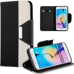 VAKOO Double Colors Leather Wallet Case Cover for Samsung Galaxy S6 Edge