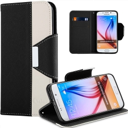 S6 Case, Vakoo WALLET Series PU Leather TPU Bumper Slim Fit Flip Magnet Card Slot Case Cover for Samsung Galaxy S6 (Black+White)