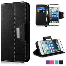 iPhone SE Case, iPhone 5 Case - Vakoo [Book Style] Premium-PU Leather Wallet Folio Mobile Phone Protector Cover Flip Case for Apple iPhone 5/5S/SE (Black)