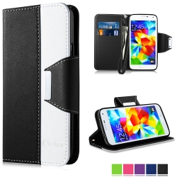 Vakoo Wallet Cover with Wrist Strap and Card Slots Case for Samsung Galaxy S5 (Blue White)