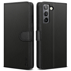 Vakoo Phone Case for Samsung Galaxy S21 Case, Leather Wallet Flip Cover for Samsung S21 Case with RFID Blocking - Black