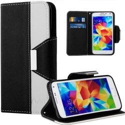 S5 Case, Galaxy S5 Case, Vakoo [Dual-Color Series] TPU Soft Bumper Samsung Galaxy S5 Wallet Cover with Wrist Strap and Card Slots, Flip Folio PU Leather Case for Samsung Galaxy S5 -Black/White