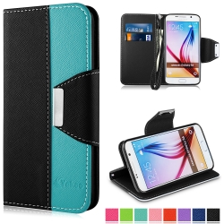 S6 Case, Vakoo WALLET Series PU Leather TPU Bumper Slim Fit Flip Magnet Card Slot Case Cover for Samsung Galaxy S6 (Black+Blue)