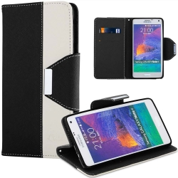 VAKOO Double Colors Leather Wallet Case Cover for Samsung Galaxy Note 4